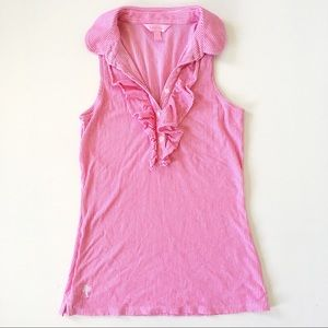 Lilly Pulitzer Drew Ruffle Pink Striped Polo